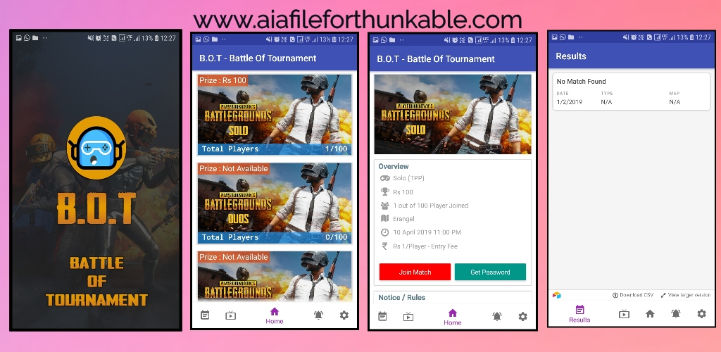 B.O.T Pubg Tournament app aia file for kodular