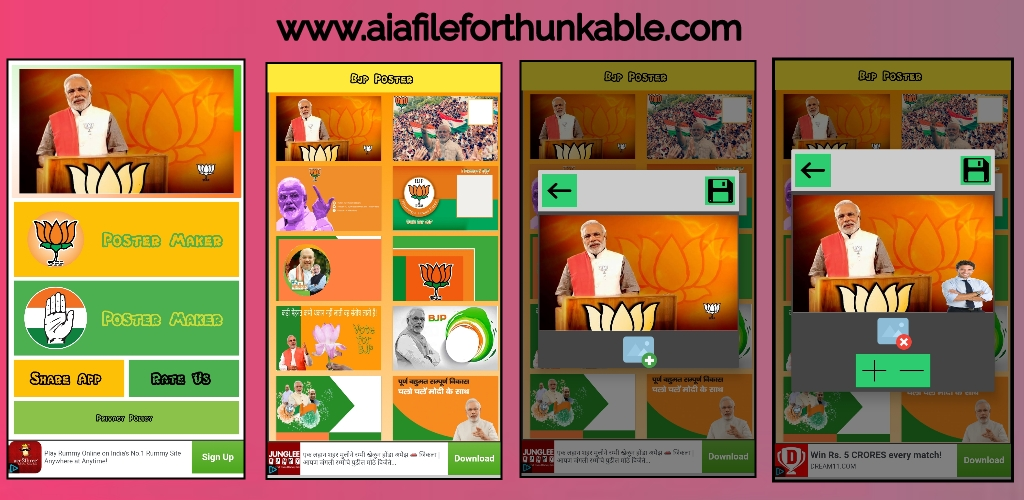 Bjp and Congress Banner Maker app aia file for kodular