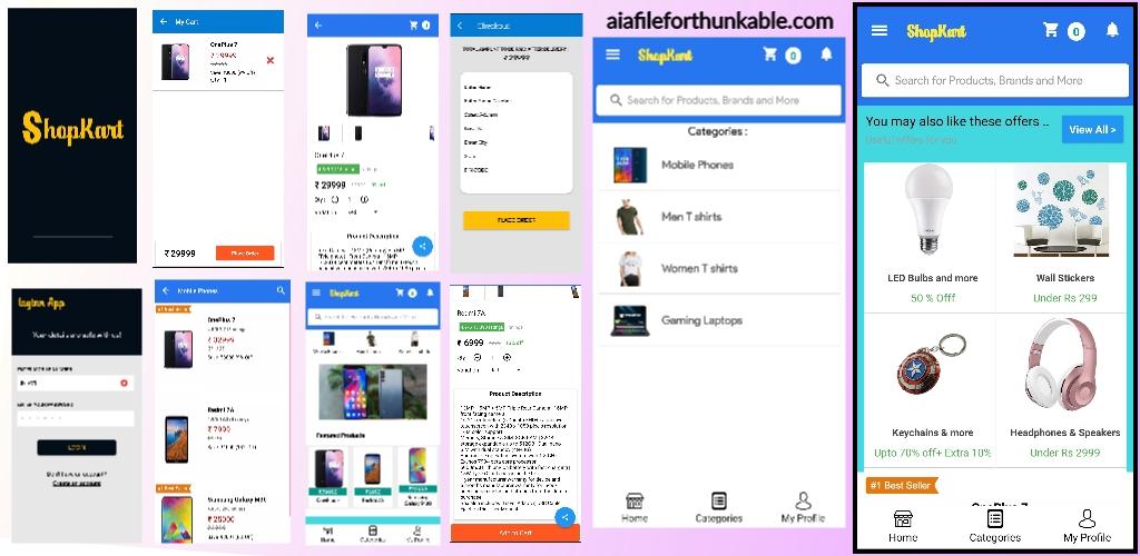 E-commerce app ( ShopKart) aia file for Kodular