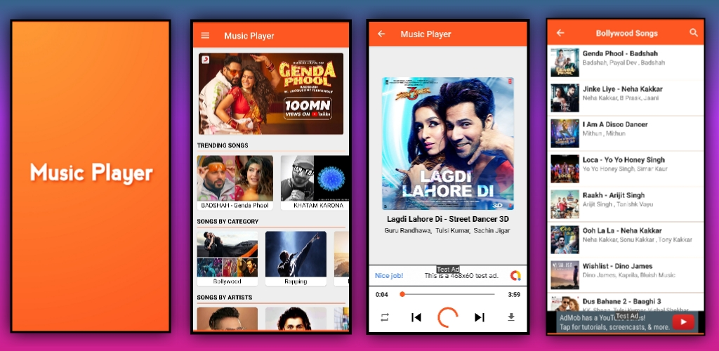Online and Offline Music Player App aia file for Kodular
