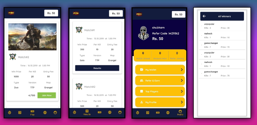 War Zone Pubg Tournament App with admin panel aia file for Kodular